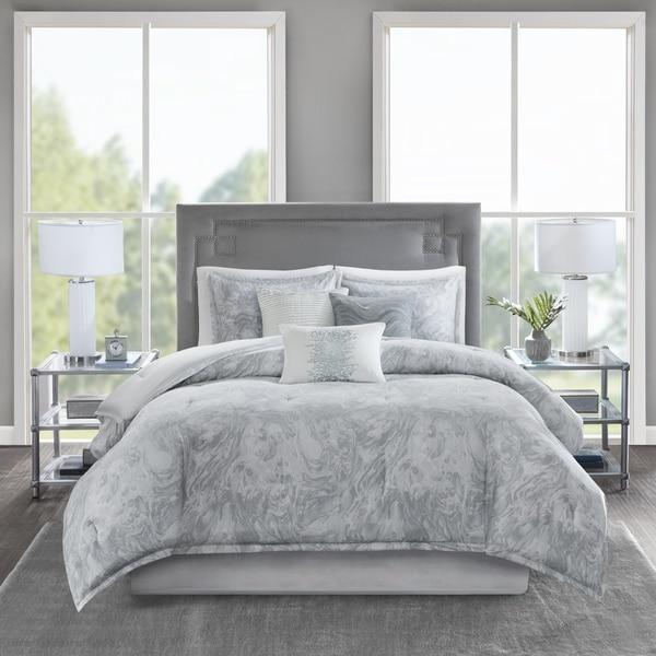 Madison Park Nowell Grey Cotton Sateen 7-piece Comforter Set