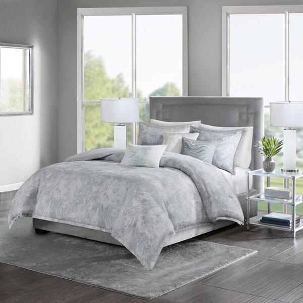Madison Park Nowell Grey Cotton Sateen 6-piece Duvet Set