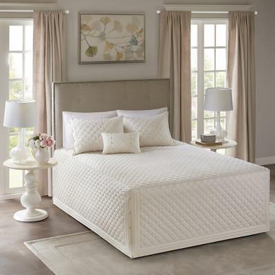 Madison Park Levine Ivory Cotton Percale Tailored 4-piece Bedspread Set