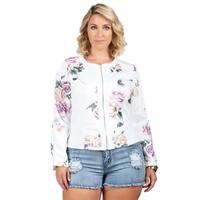 Xehar Womens Plus Size Floral Print Full Zip Jacket