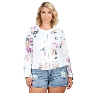 Xehar Womens Plus Size Floral Print Full Zip Jacket