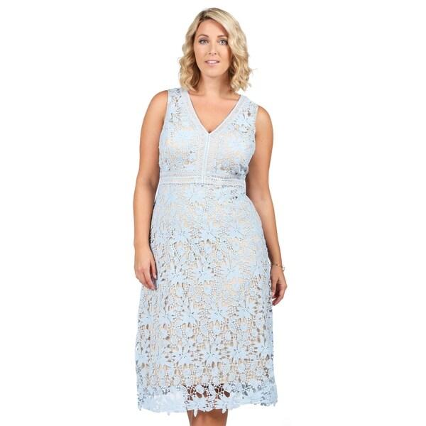 728be2ad3b7 Shop Xehar Womens Plus Size Illusion Crochet Knit V-Neck Dress ...