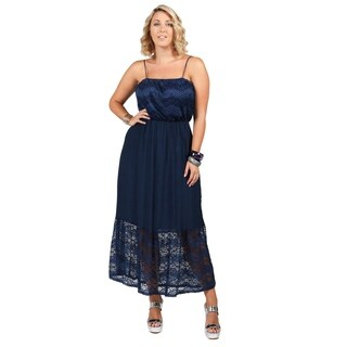 Xehar Womens Plus Size Polka Dot Illusion Lace Hem Dress