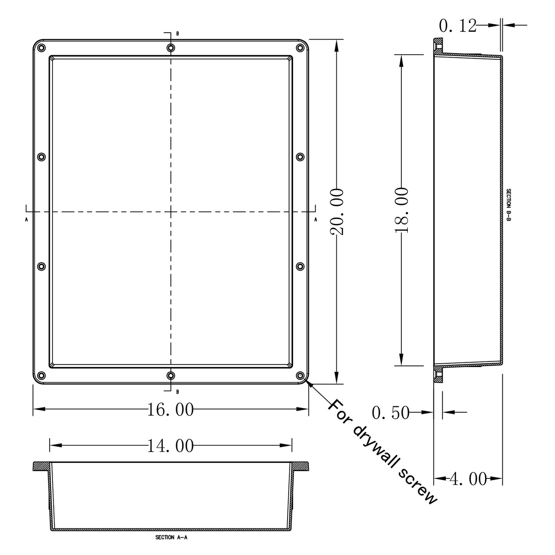"Ready For Tile Waterproof Leak Proof 16"" x 20"" Square ..."