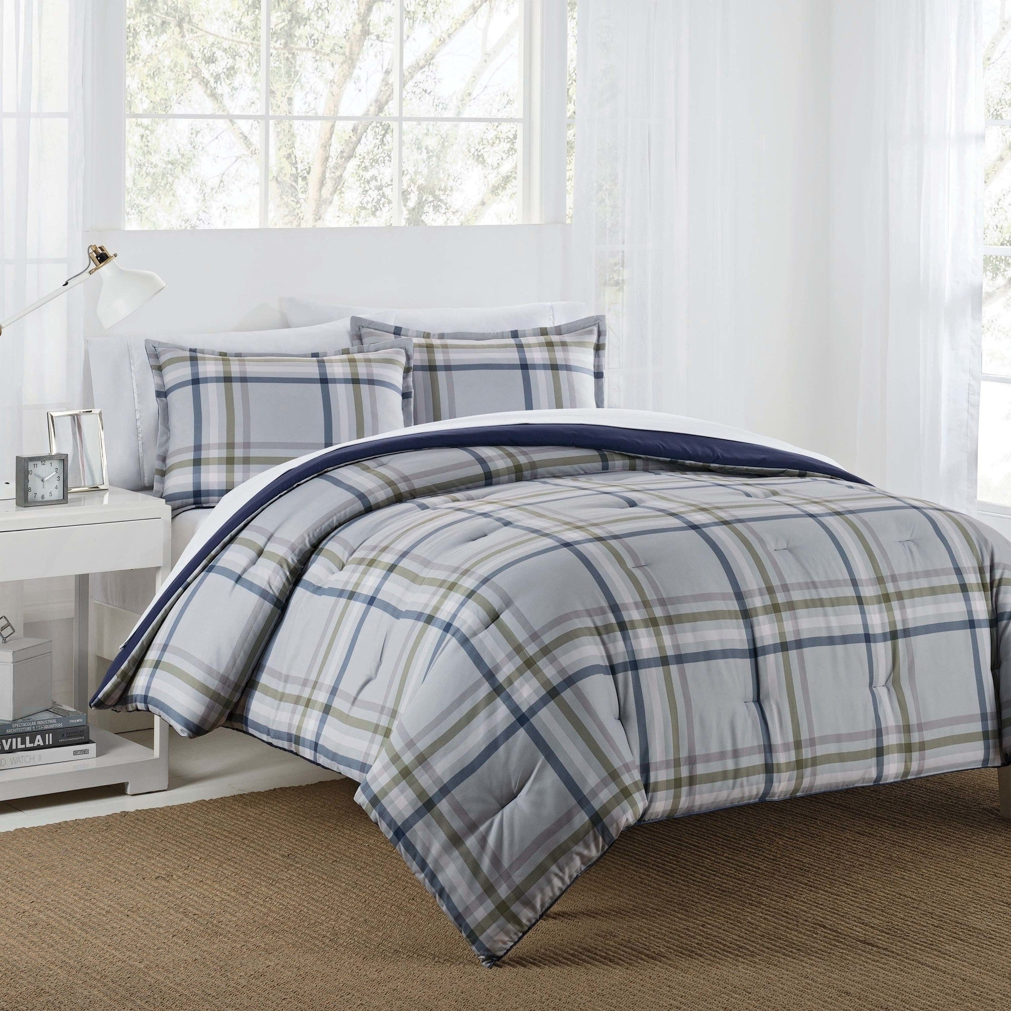 Izod Connor Grey Navy Reversible Comforter Set With Shams Overstock 20175810