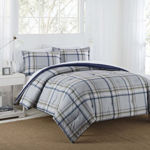 IZOD Connor Grey/Navy Reversible Comforter Set with Shams