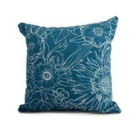 16 x 16 Inch Zentangle 4 Floral Print Outdoor Pillow