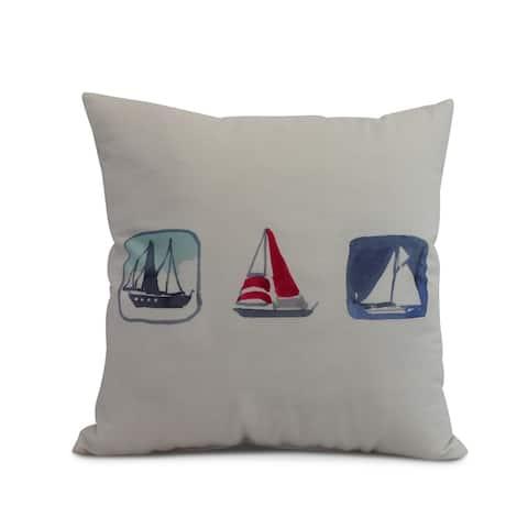 16 x 16 Inch Boat Trio Geometric Print Outdoor Pillow