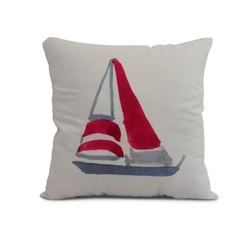16 x 16 Inch Sail Away Geometric Print Outdoor Pillow