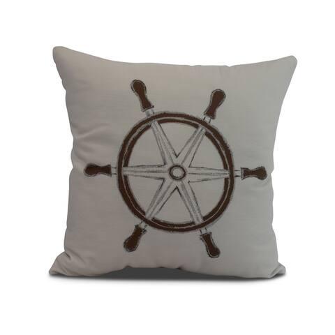 16 x 16 Inch Ship Wheel Geometric Print Outdoor Pillow