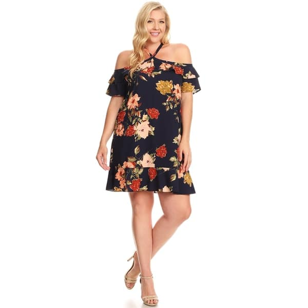 Shop Xehar Womens Plus Size Casual Cold Shoulder Floral ...