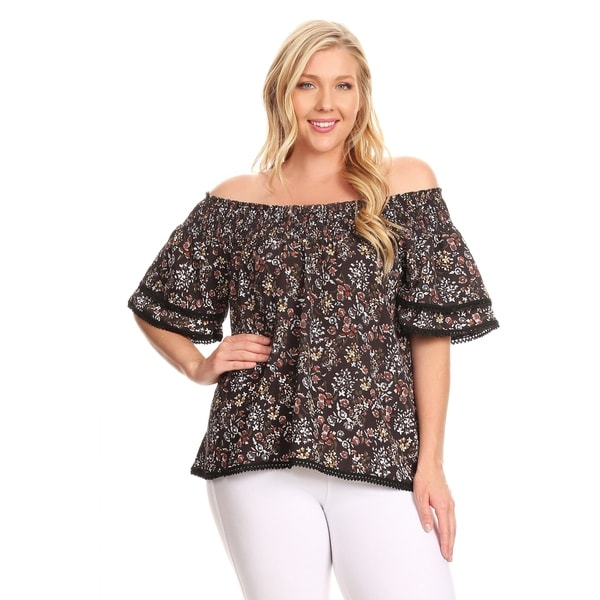 0f699b07b45 Shop Xehar Womens Plus Size Casual Floral Print Ruffle Blouse Top ...