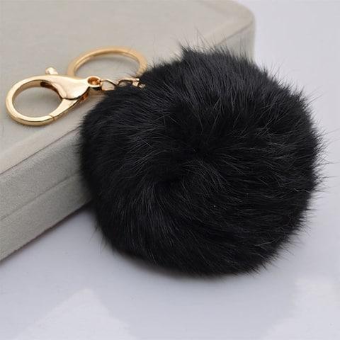 Faux Rabbit Fur Pom Pom Charm Keychain