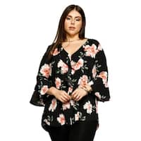Xehar Womens Plus Size Casual V-Neck Ruffle Floral Bell Blouse Top