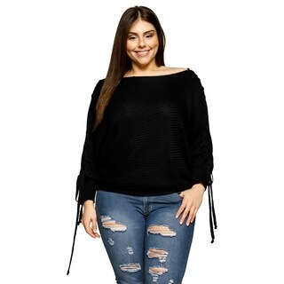 Xehar Womens Plus Size Lace Up Dolman Pullover Shoulder Seam Sweater
