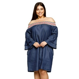 Xehar Womens Plus Size Smocked Tiered Bell Sleeve Short Shift Dress (3 options available)