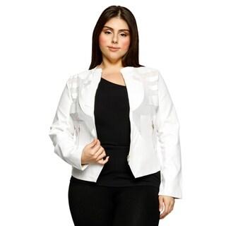 Xehar Womens Plus Size Faux Leather Cutout Illusion Moto Jacket