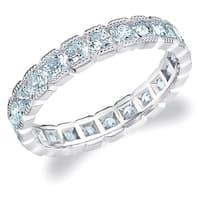 Amore 10KT White Gold 1.50CT Box Milgrain Edge Diamond Eternity Ring