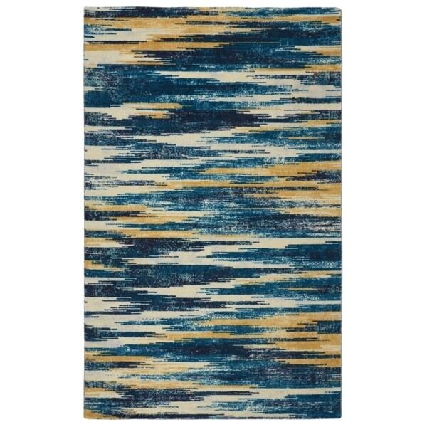 RugSmith Slash Ikat Modern Bohemian Blue Area Rug - 7'6 x 9'6
