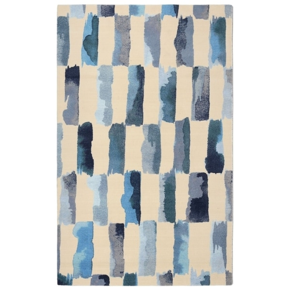 """RugSmith Turquoise Painted Weave Contemporary Modern Area Rug, 7'6"""" x 9'6"""" - 7'6"""" x 9'6"""""""