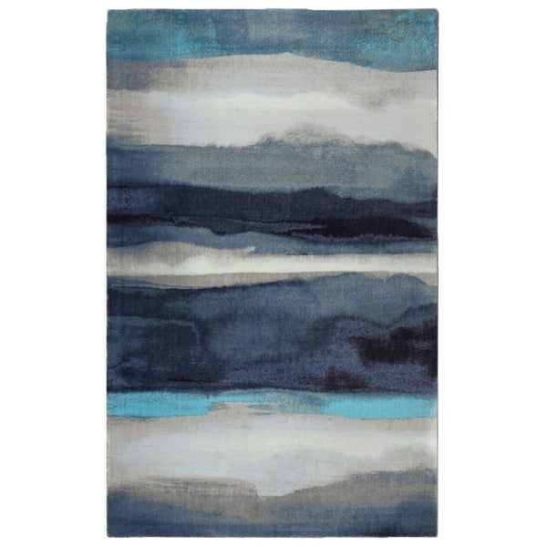 RugSmith Blue Canvas Nylon Contemporary Modern Area Rug - 7'6 x 9'6