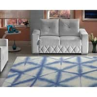 "RugSmith Denim Speckle Diamond Contemporary Modern Area Rug, 7'6"" x 9'6"" - 7'6"" x 9'6"""