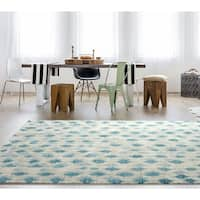 "RugSmith Blue Pendant Contemporary Modern Area Rug - 7'6"" x 9'6"""