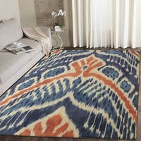 RugSmith Crown Ikat Modern Bohemian Blue/Cotton Nylon Area Rug - 7'6 x 9'6