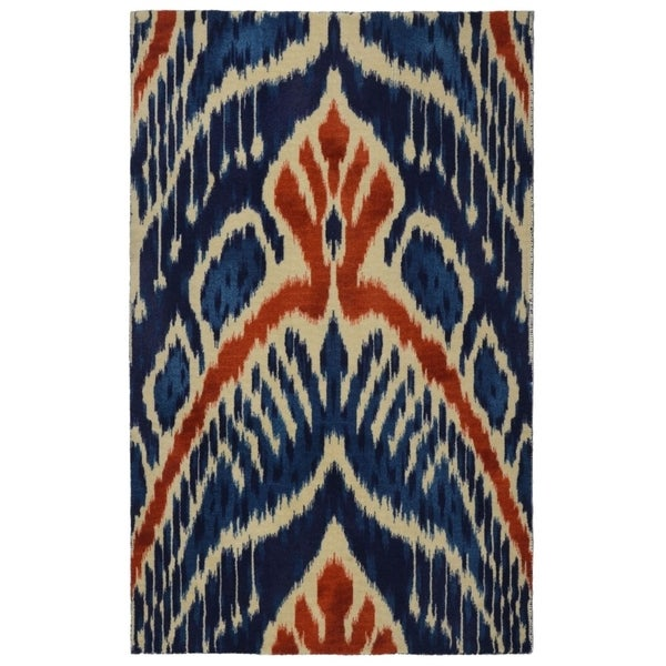 "RugSmith Blue Crown Ikat Modern Bohemian Area Rug, 7'6"" x 9'6"" - 7'6"" x 9'6"""