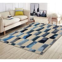 """RugSmith Turquoise Painted Weave Contemporary Modern Rug, 5'6"""" x 8'6"""" - 5'6"""" x 8'6"""""""