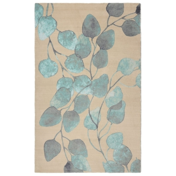 """RugSmith Turquoise Ficus Modern Floral Area Rug - 7'6"""" x 9'6"""""""