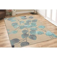 RugSmith Turquoise/Beige Ficus Floral Area Rug - 5'6 x 8'6