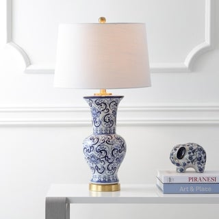 """Leo 28.5"""" Chinoiserie Table Lamp, Blue/White by JONATHAN  Y"""