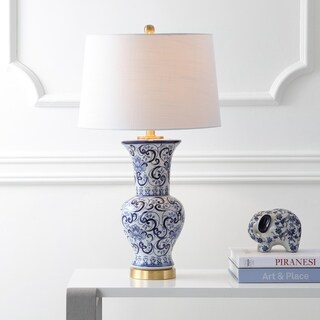"Leo 28.5"" Chinoiserie LED Table Lamp, Blue/White"