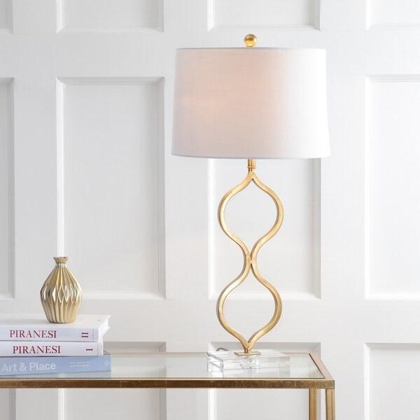 "Levi 31.5"" Metal/Crystal LED Table Lamp, Gold Leaf"