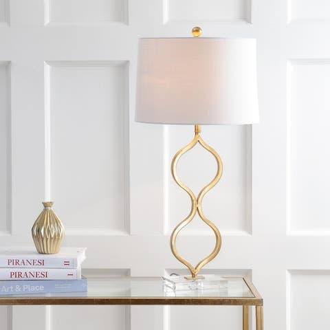 """Levi 31.5"""" Metal/Crystal LED Table Lamp, Gold Leaf by JONATHAN Y"""