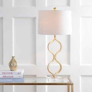 "Levi 31.5"" Metal/Crystal LED Table Lamp, Gold Leaf by JONATHAN Y"