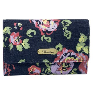Denim and Roses Mid-Size Trifold Wallet