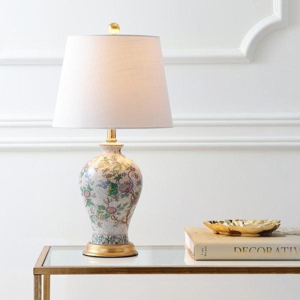 "Grace 24"" Floral LED Table Lamp, Multi/Brass"