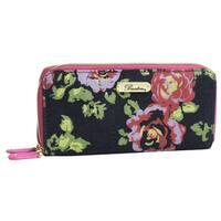 Denim and Roses Slim Double Zip Wallet