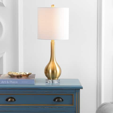 "Dylan 25"" Metal/Crystal Teardrop LED Table Lamp, Brass by JONATHAN Y"