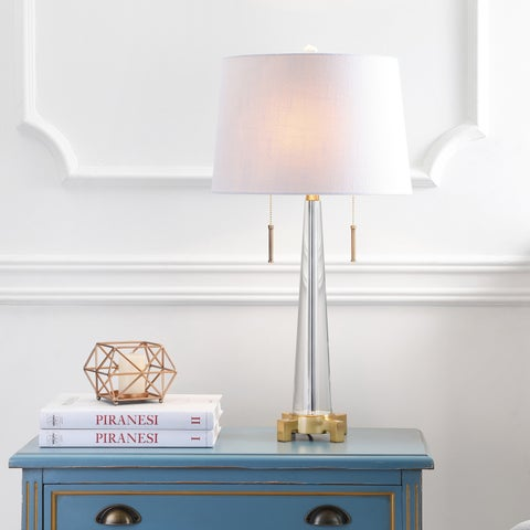 """Zoe 29.5"""" 2-Light Crystal Table Lamp, Clear/Brass Gold by JONATHAN Y"""