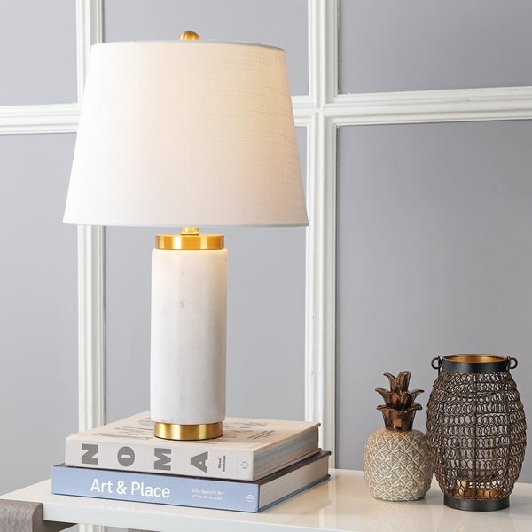 """Adams 23"""" Marble LED Table Lamp, White/Brass"""