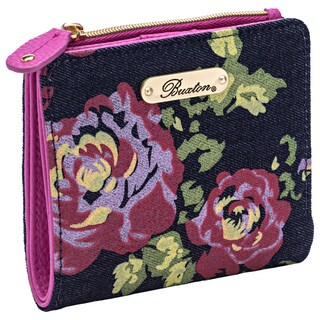 Denim and Roses Double Mini Billfold Wallet