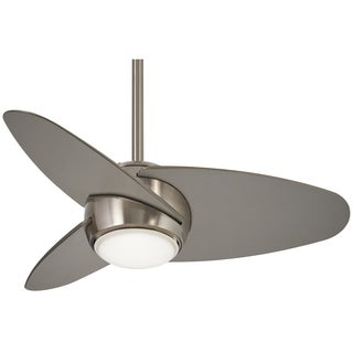 "Minka Aire Slant 36"" Led Ceiling Fan In Brushed Steel Finsh"