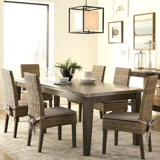 Rustic Industrial Design Metal Top Dining Set with Rattan Chairs