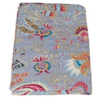Handmade Kantha Queen Blue Tropical Quilt (India)