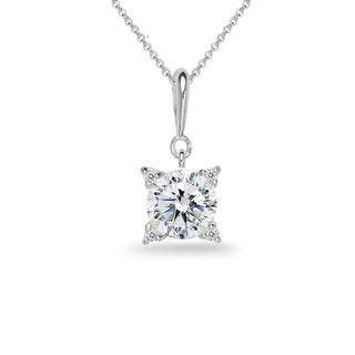 ICZ Stonez Sterling Silver Studded Solitaire Necklace Created with Swarovski Zirconia