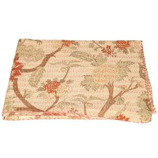 Handmade Vintage Kantha Floral Quilt (India)