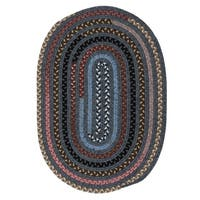 Rhoddy Stonewashed Grey/ Multicolor Reversible Braided Area Rug - 6' x 9'